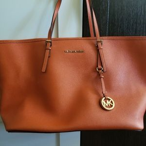 Michael Kors Orange Leather Tote Bag